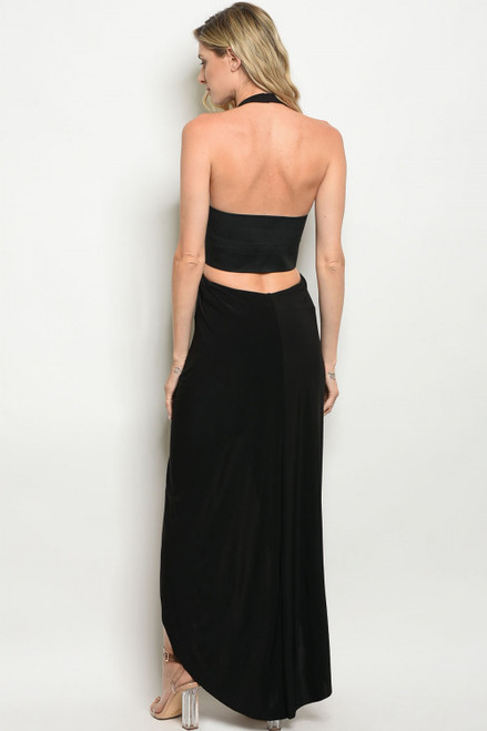 71d76b0fdf Sexy Halter Plunging Neckline Black Dress (42-9) - 5dollarfashions.com
