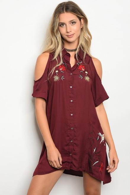 Silky Cold Shoulder Embroidered Merlot Shift Shirt/Dress (42-17)
