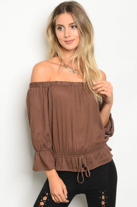 Long Sleeve Off Shoulder Gathered Waist Tie Mocha Top (42-18)