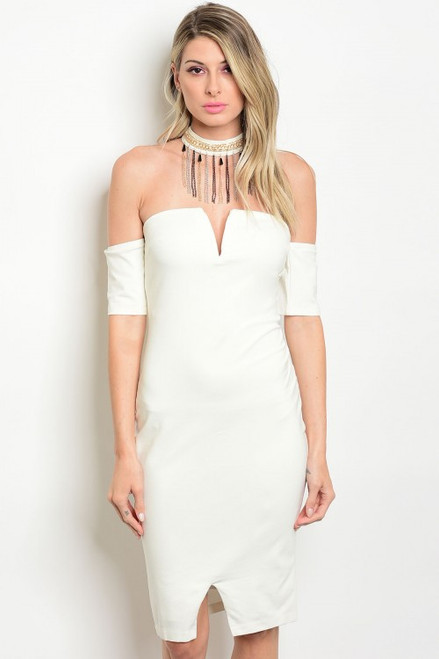 Sexy Bodycon Choker Off Shoulder Mini Off White Dress (42-19)