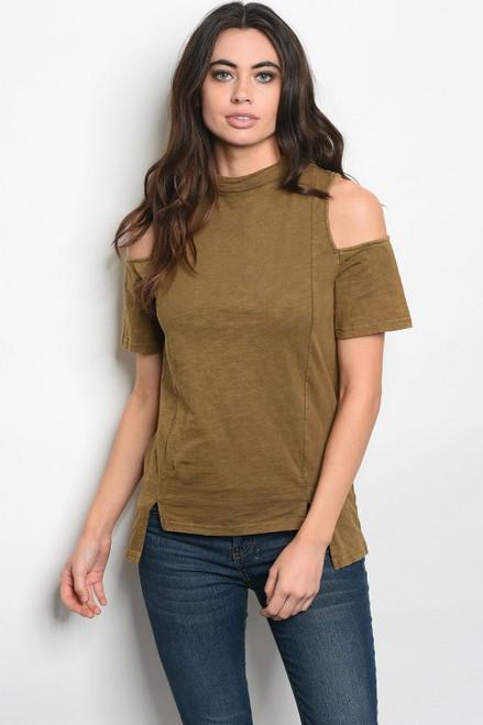 100% Cotton 3/4 Sleeve Cold Shoulder Olive Jersey Top (42-21)