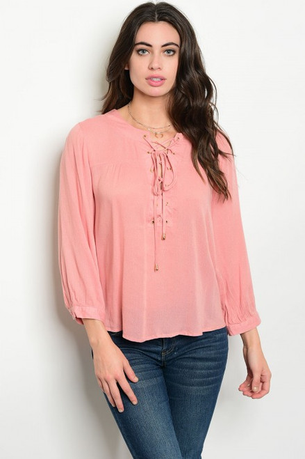 100% Rayon Loose Fitting Long Sleeve Blush Lace up Top (42-22)
