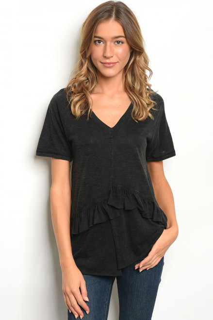 Short Sleeve V-Neck w/Ruffle Detail Jersey Black Tee Shirt (42-26)