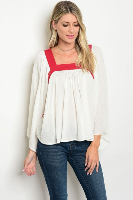 Loose Fitting Off White & Red Trim Bell Sleeves Top (42-29)