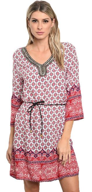 100% Cotton Multi Red Color Dress w/Embellished Neck (42-30)