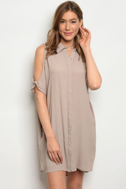 Cold Shoulder Taupe Button Down Shirt-Dress (42-31)