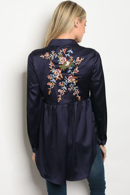 Navy Long Sleeve Collard Button Tunic Embroided Top (42-32)