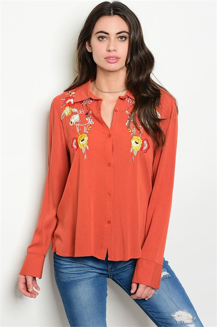 Soft Rust Embroidery Floral Long Sleeve Button Blouse (42-33)