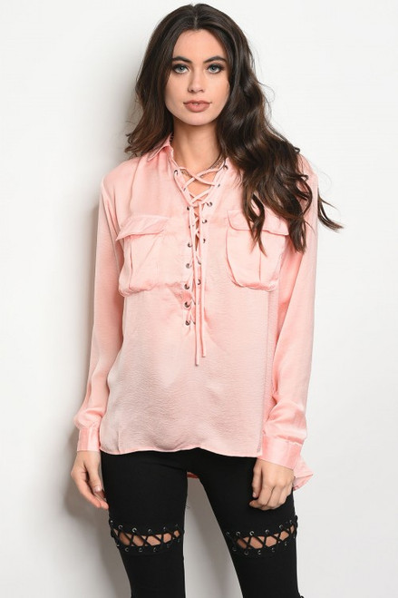 Satin Long Sleeve Lace-up Front Peachy Pink Blouse (42-34)