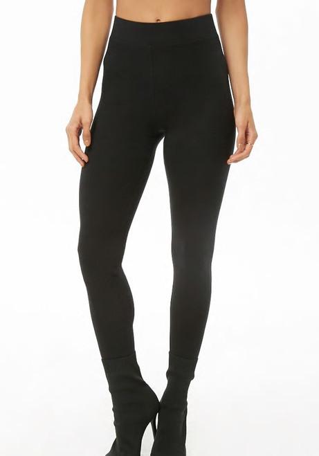 94% Cotton Knit Black Color Wide Band Legging (43-1)