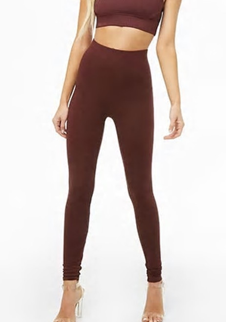 94% Cotton Knit Burgundy Color Wide Band Legging (43-3)