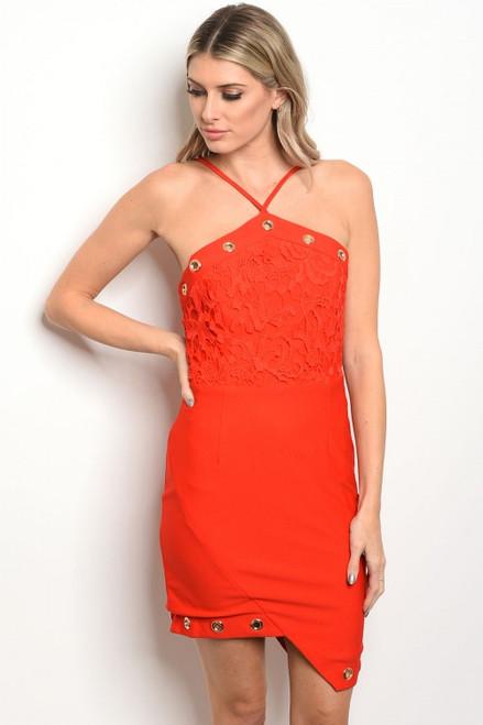 Sexy Red Spagetti Strap Lace Bodice Dress (26-38)