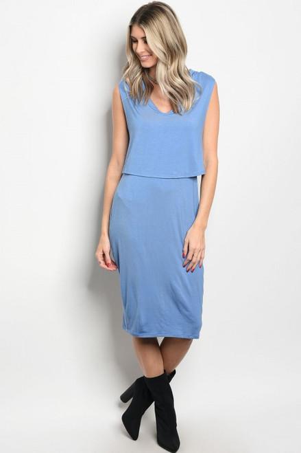 Sleeveless Soft Hooded Denim Blue Dress (26-40)