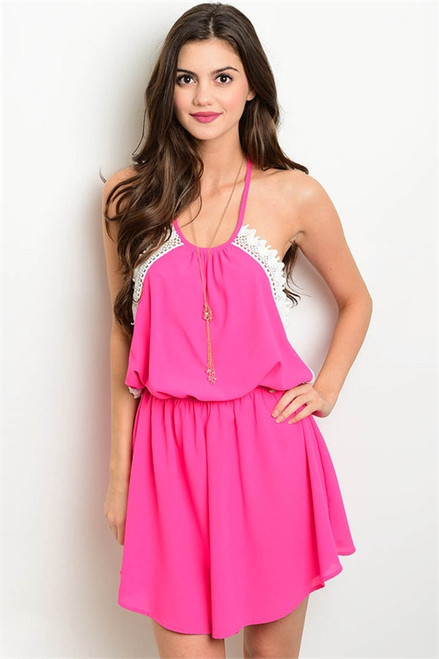 Sexy Backless Lace Trim Fuchsia Dress (26-41)