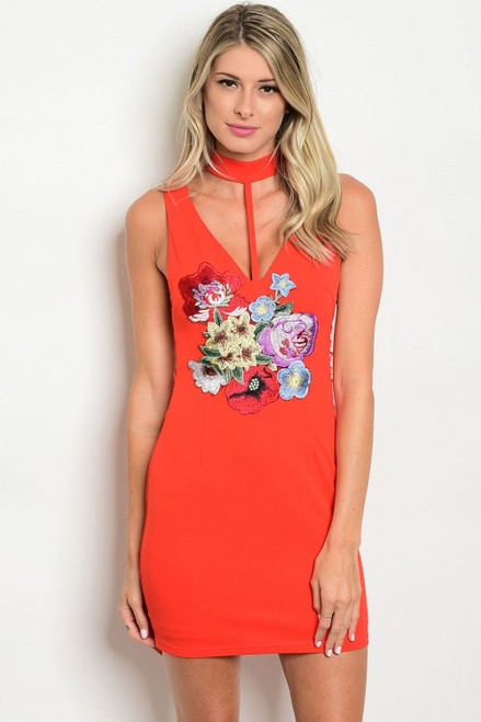 Sleeveless Red Floral Patch Bodycon Dress (26-43)