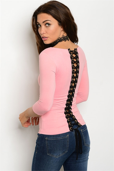 Rose Pink Fitted 3/4 Sleeve Black Lace Up Back Top (26-49)