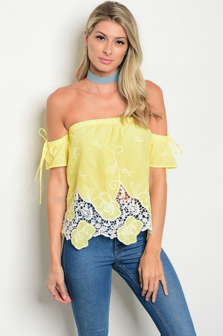 100% Cotton Off Shoulder Crochet Yellow Top (26-50)