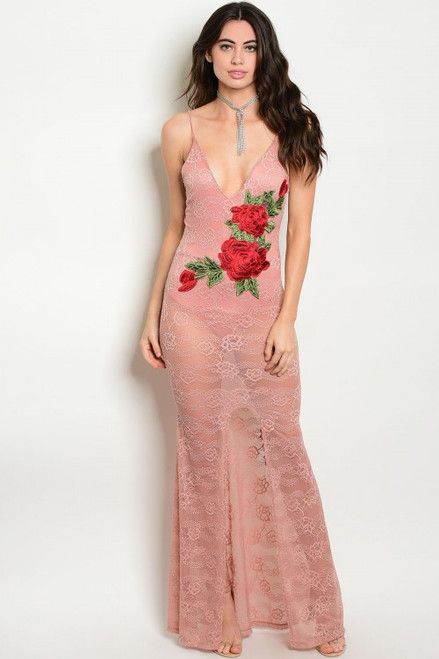 Sexy Bodycon Lace Maxi Pink Dress Features Rose Applique (21-31)