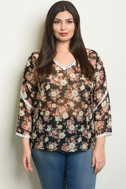 3/4 SLEEVE BLACK FLORAL PLUS SIZE TOP (44-1)
