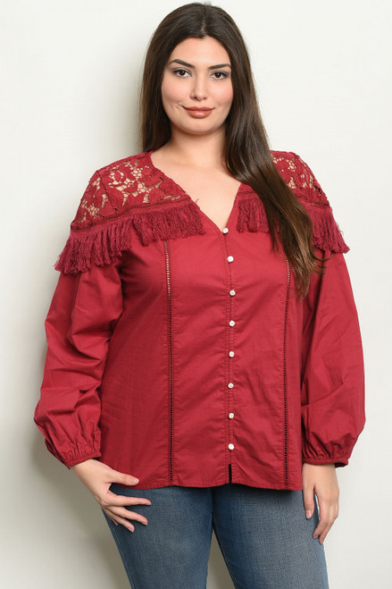 LONG SLEEVE BURGUNDY PLUS SIZE TOP (44-2)