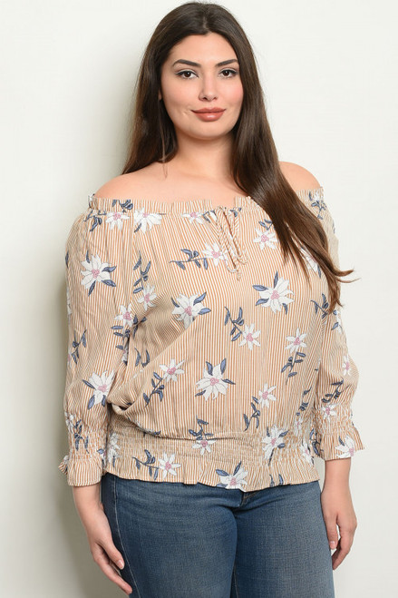 OFF THE SHOULDER TAUPE STRIPES W/FLOWER PLUS SIZE TOP (44-9)