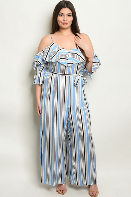 COLD SHOULDER BLUE STRIPES PLUS SIZE JUMPSUIT (44-13)