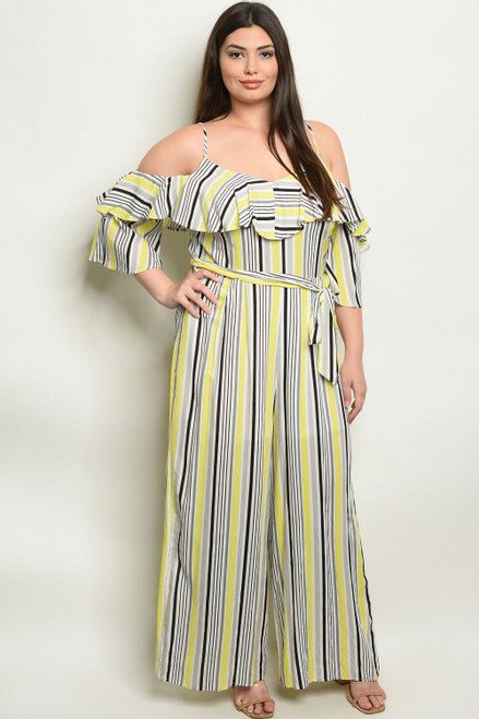 COLD SHOULDER YELLOW STRIPES PLUS SIZE JUMPSUIT (44-14)
