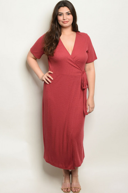 SHORT SLEEVE CROSSOVER WRAP BERRY PLUS SIZE DRESS (44-15)