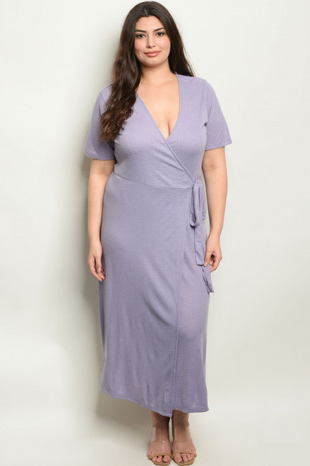 SHORT SLEEVE CROSSOVER WRAP LAVENDER PLUS SIZE DRESS (44-16)