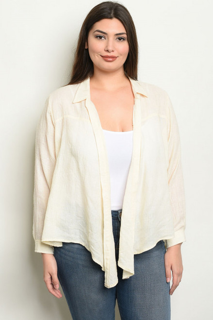 RELAXED OPEN CREAM PLUS SIZE TOP (44-19)