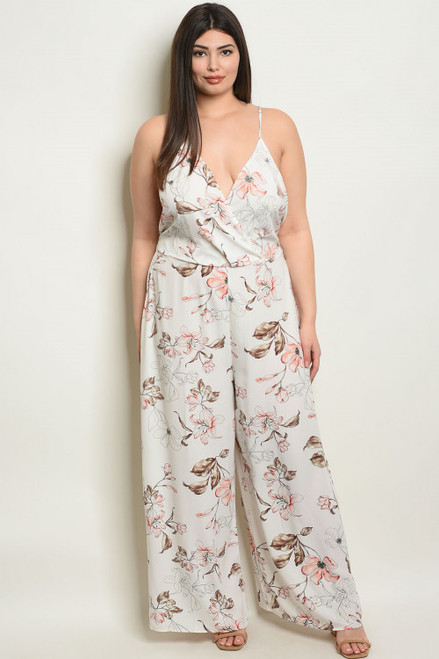 SPAGHETTI STRAP IVORY FLORAL JUMPSUIT (44-20)