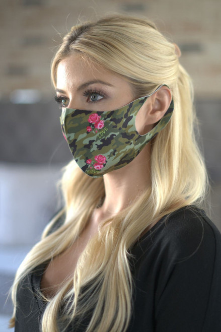 CAMOUFLAGE W/ROSE & LOVE FASHION MASK (45-1)