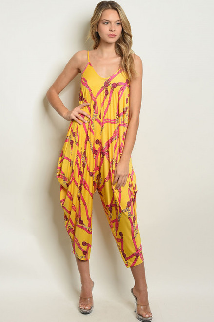 COMFY, FUN YELLOW FUCHSIA LOOSE FIT JUMPSUIT (45-10)