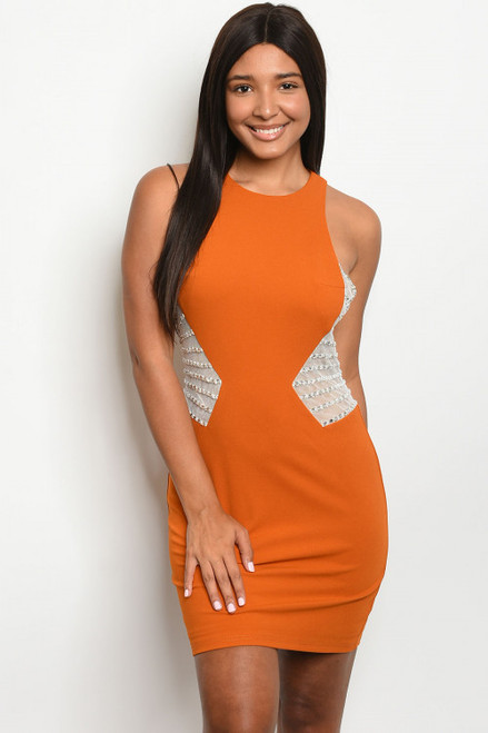 SLEEVELESS BODYCON W/RHINESTONES MUSTARD DRESS (45-14)