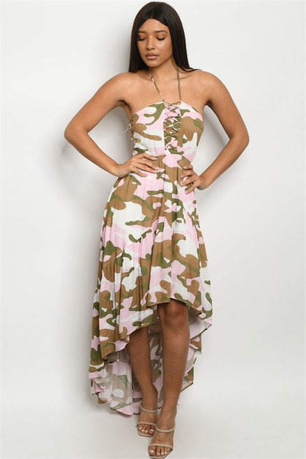 SEXY HALTER LACE UP PINK CAMOUFLAGE DRESS (45-15)