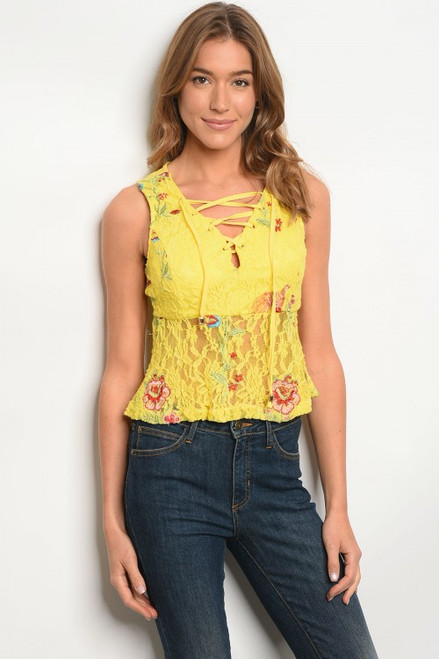 SLEEVELESS LACE YELLOW FLORAL EMBROIDERY TOP (45-18)