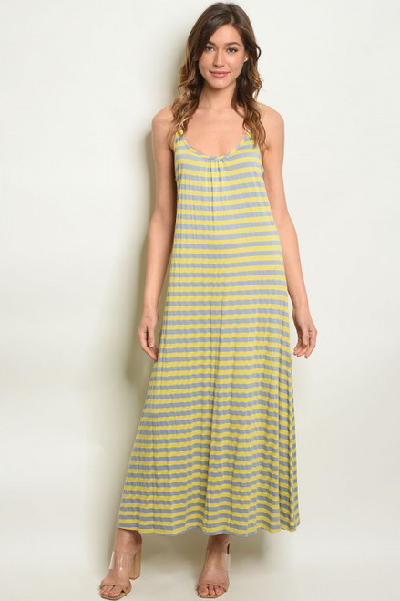 SLEEVELESS YELLOW/GREY STRIPE MAXI DRESS (45-19)