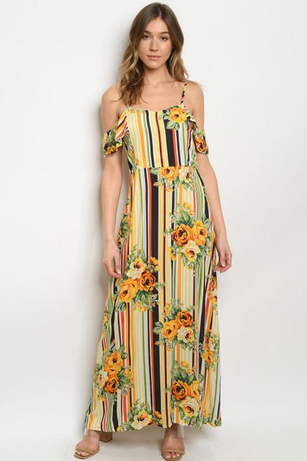 COLD SHOULDER YELLOW/ORANGE STRIPE & FLOWERS MAXI DRESS (45-23)