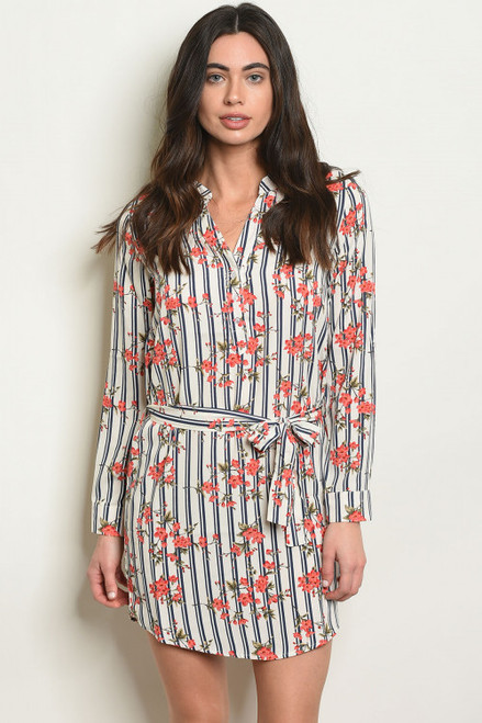 LONG SLEEVE IVORY NAVY FLORAL TUNIC DRESS/SHIRT (45-24)