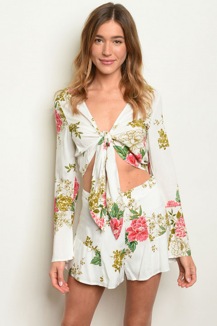 BELL SLEEVE WHITE FLORAL TOP & MATCHING SHORTS SET (45-27)