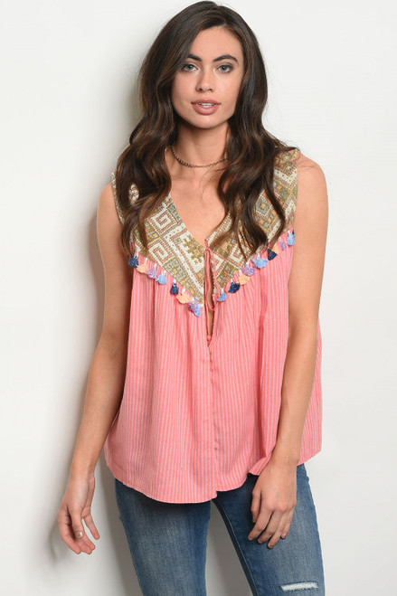 SLEEVELESS EMBROIDERY DETAIL TUNIC SALMON ROSE TOP (45-29)