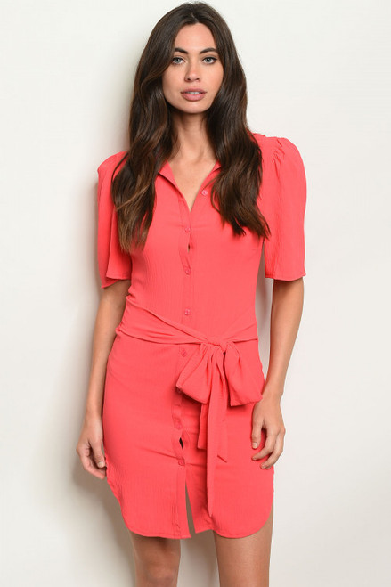 STYLISH ELBOW SLEEVE BUTTON FRONT CORAL TUNIC DRESS (45-32)