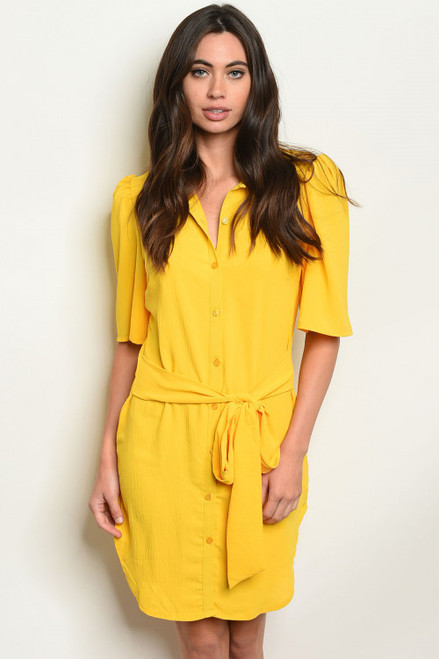 STYLISH ELBOW SLEEVE BUTTON FRONT YELLOW TUNIC DRESS (45-33)