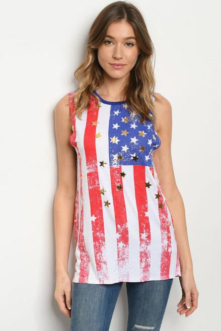 BE PARTRIOTIC AMERICAN FLAG PRINT TANK TOP (45-34)