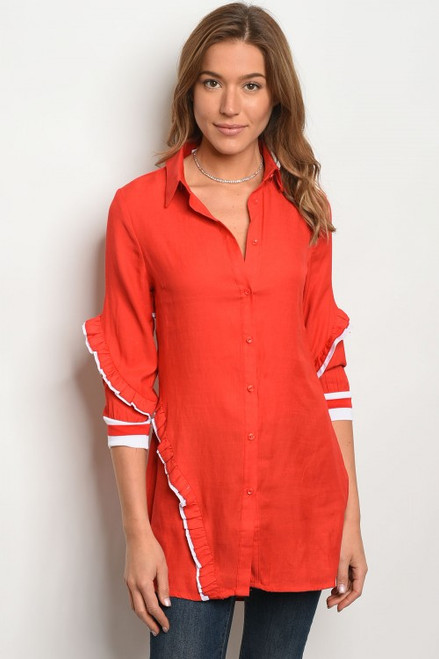 COMFY RED & WHITE BUTTON LONG TOP (45-35)
