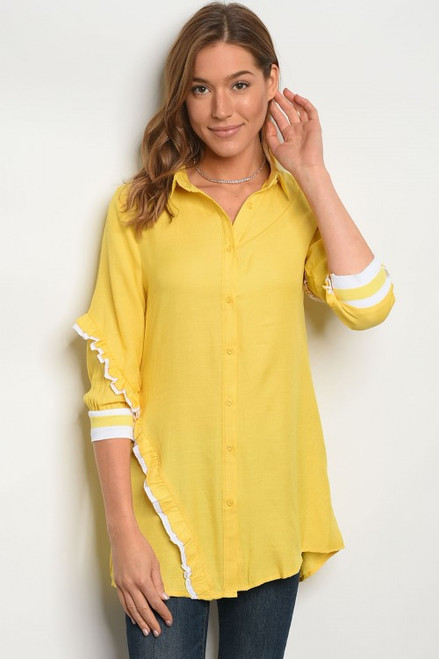 COMFY YELLOW & WHITE BUTTON LONG TOP (45-36)