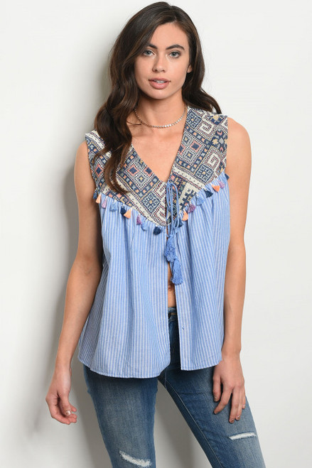SLEEVELESS EMBROIDERY DETAIL TUNIC DENIM BLUE TOP (45-30)