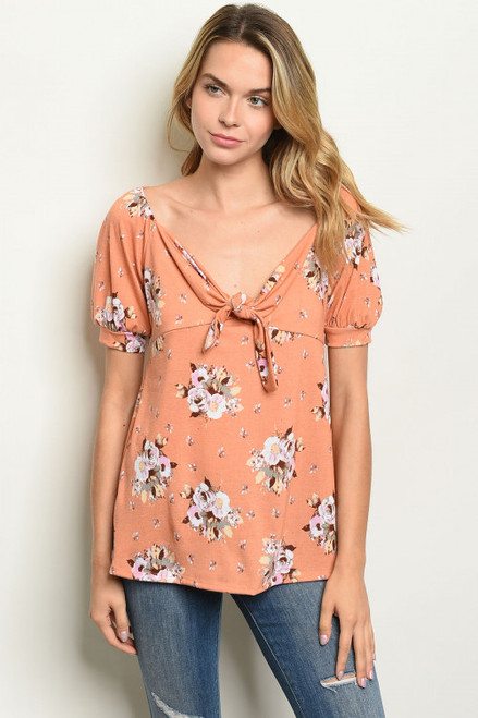 SHORT SLEEVE PEACH FLORAL TUNIC TOP (46-11)