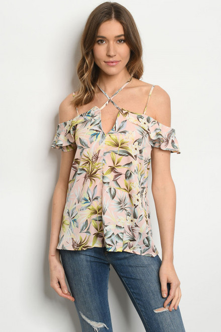 STRAPPY RUFFLE OFF THE SHOULD TOPICAL PEACH PRINT TOP (46-23)