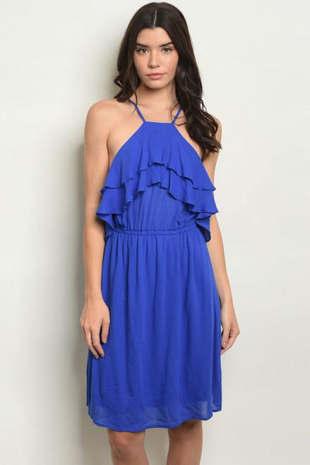 SLEEVELESS RUFFLE HALTER TUNIC ROYAL BLUE DRESS (46-25)